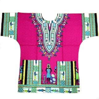 ≪前払いのみ・ネコポス発送可≫ピンク エジプト 男女兼用 ダシキ Dashiki 半袖シャツ アフリカ アフリカン 民族衣装  ヒッピー hiphop