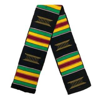 【※B級品:商品説明をお読みください】 Made in Ghana 手織り 織物 アフリカ ケンテ スカーフ 飾り インテリア 帯 Africa Kente