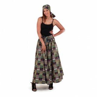 アフリカ ケンテ ガーナ ワックスプリント ロングスカート ヘッドラップ付 Africa Kente skirt