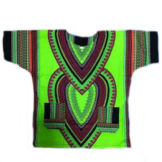Lime Heart Of Africa Dashiki 男女兼用 ダシキ 半袖シャツ アフリカ アフリカン 民族衣装  ヒッピー hiphop