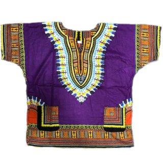 薄手素材 Purple 男女兼用 ダシキ Dashiki 半袖シャツ アフリカ アフリカン 民族衣装  ヒッピー hiphop