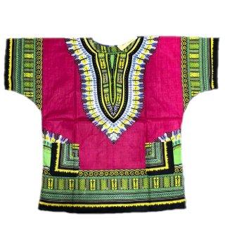 薄手素材 Fuchsia 男女兼用 ダシキ Dashiki 半袖シャツ アフリカ アフリカン 民族衣装  ヒッピー hiphop