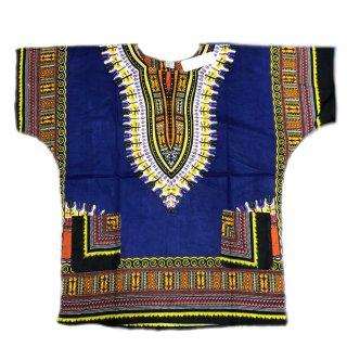 薄手素材 Blue 男女兼用 ダシキ Dashiki 半袖シャツ アフリカ アフリカン 民族衣装  ヒッピー hiphop