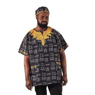 刺繍入り ハット付き アフリカンプリント ダシキ African Print Dashiki Mud print