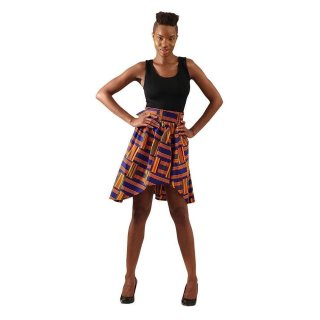 アフリカンプリント ガーナ ブルー ケンテ Hi-Lo スカート Africa Kente Skirt