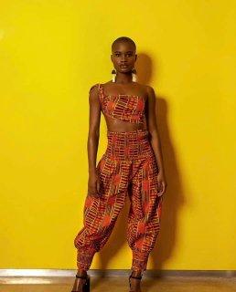 アフリカンプリント ケンテ エラスティック ハーレム パンツ ヘッドラップ付 Africa Kente Elastic Harem pants
