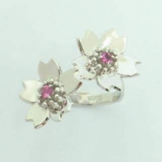 石割桜 銀ジュエリーシリーズ/石割桜リング 2粒