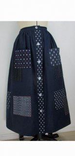 AJ-0001久留米絣前開きギャザースカート