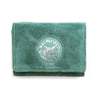 わちふぃーるど 猫のダヤン マカロンレザー 三つ折り財布 エメラルドグリーン
