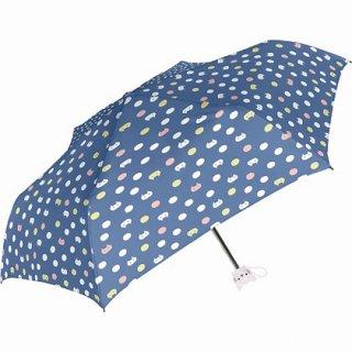 sheil&sheil にゃんこドット レディース 折たたみ傘 ブルー