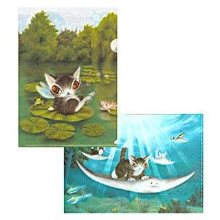 わちふぃーるど 猫のダヤン クリアファイルセット#34 睡蓮/陸エイに乗って