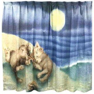 わちふぃーるど 猫のダヤン アートなカーテン 遊び疲れた二人
