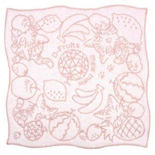 わちふぃーるど 猫のダヤン 竹タオル刺繍ハンカチ Dフルーツ・ピンク