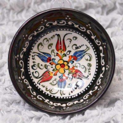 キュタフヤ陶器・手描きボウル中 直径12� 黒