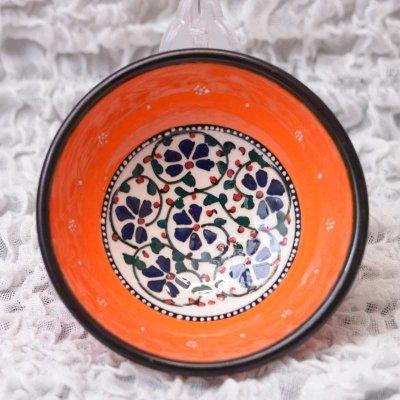 キュタフヤ陶器・手描きボウル中 直径12� オレンジ