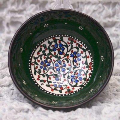 キュタフヤ陶器・手描きボウル中 直径12� 緑