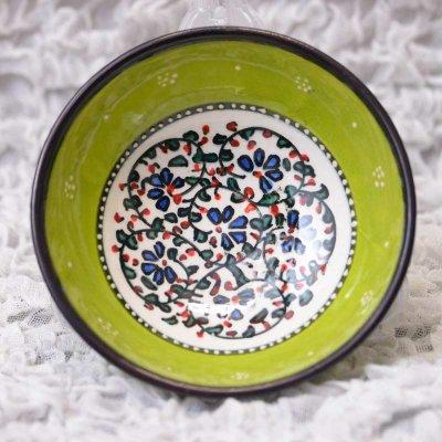 キュタフヤ陶器・手描きボウル中 直径12� 黄緑