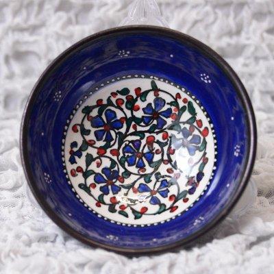 キュタフヤ陶器・手描きボウル中 直径12� 青