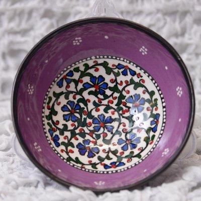 キュタフヤ陶器・手描きボウル中 直径12� 紫