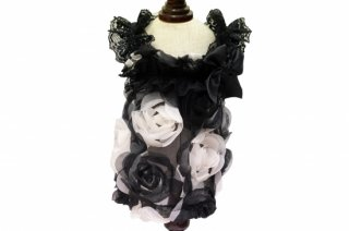 Doll dress in 3d black and white flowers【IT-DOGS】