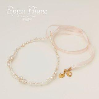 淡水パールの小枝風リボンカチューシャ【Spica Blanc Accessories】