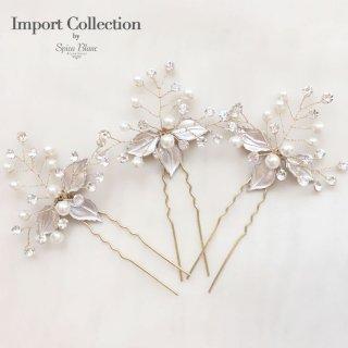 【Jenna】リーフと小枝のビジューピン【Import Collection】
