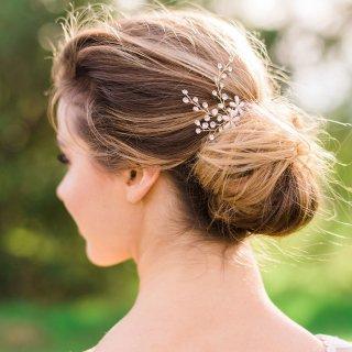 【Trish】フラワーとクリスタルのヘッドドレス・1本/2本/gold【A Bit of Love】