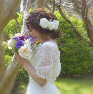 ポップアップセール!【Three Blossoms】シルクフラワーの華やかヘッドドレス【aino】