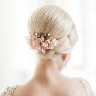 【Maria】シルクフラワーのフラワーヘッドピース ・ホワイト/ピンク 【by Katriin】