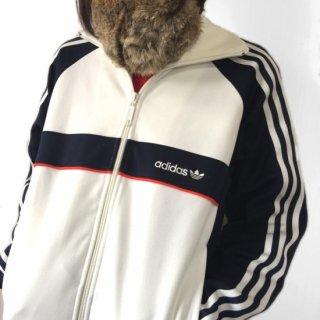 adidas レトロデザイン ラグラントラックジャケット 三つ葉トレフォイル 白×黒