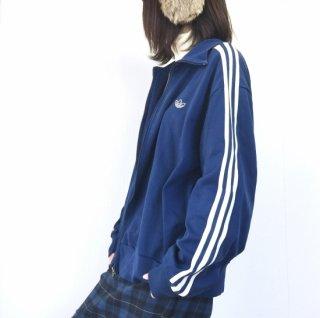adidas 80'ヴィンテージトラックジャケット 3本ライン 三つ葉トレフォイル 青×白(ブルー×ホワイト)