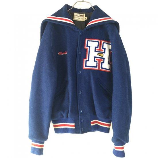 セーラー襟WOOLチアスタジャン 青(ブルー) - 古着屋マッシュ|かわいくて安い古着のお通販