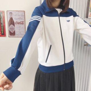 adidas ヴィンテージトラックジャケット トレフォイル刺繍 白×紺バイカラー(ホワイト×ネイビー)