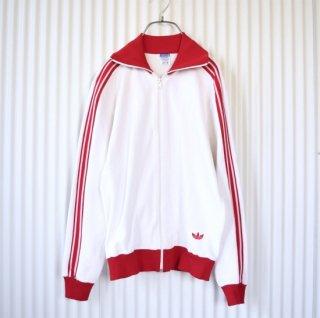 adidas ヴィンテージトラックジャケット トレフォイル刺繍 白×赤ライン(ホワイト×レッド)