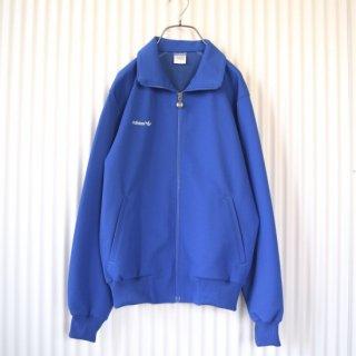 adidas ヴィンテージトラックジャケット オールブルー 白レフォイル刺繍 青