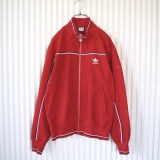adidas ヴィンテージトラックジャケット 白紺ライン トレフォイル刺繍 赤(レッド)
