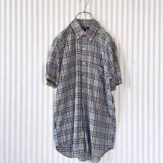 BURBERRY ボタンダウン チェックシャツ 水色/クリックポスト可