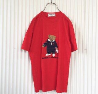Burberrys くまちゃん刺繍Tシャツ 赤/クリックポスト可