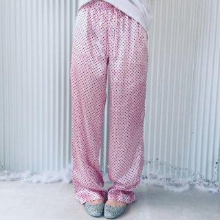 ピンク×くろドット模様 サテンパンツ/クリックポスト可