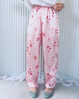 ピンクに赤いお花のサテンパンツ/クリックポスト可