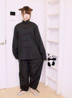 チャイナシャツ(カンフーシャツ)+パンツ セットアップ /ブラック