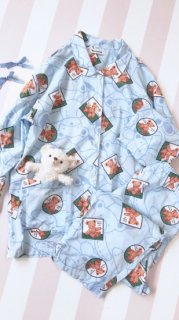 くまちゃんパジャマセットアップ/水色