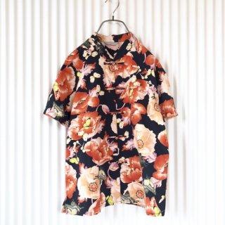 Powder 牡丹と蝶々チャイナシャツ