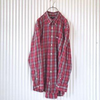 BURBERRY ホース刺繍チェックシャツ RED