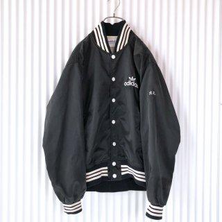 adidas トレフォイル刺繍ナイロンブルゾン/黒×白