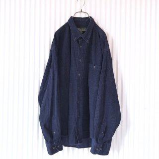 チェックコーデュロイB.Dシャツ/ネイビー×ブラック
