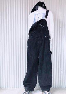 SQUEEZE コーデュロイ ゆるオーバーオール/black