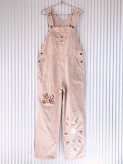 PINK HOUSE くまちゃん刺繍&ワッペン コーデュロイオーバーオール