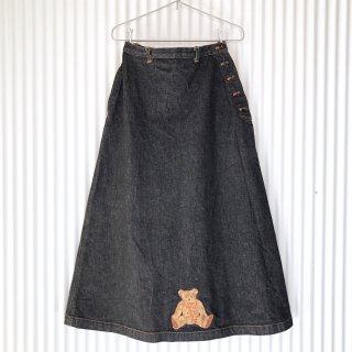 WODERFUL WORLD 前後くまちゃん刺繍+ワッペンロングスカート