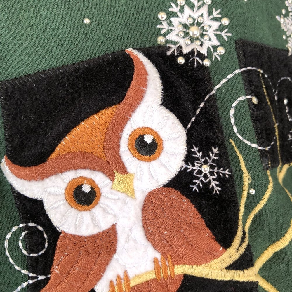 """3/"""" Large Brown Owl//Bird Retro Vintage Daisy Iron on Applique//Embroidered Patch"""